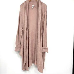 Leith blush pink wool blend long line cardigan XL